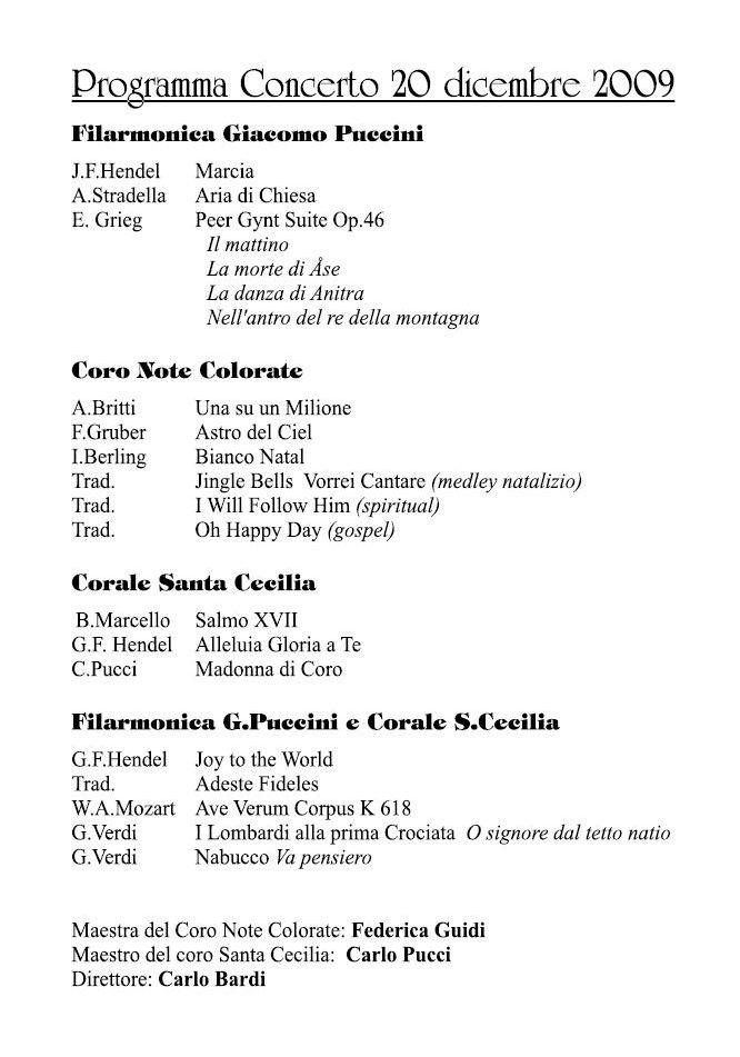 Programma di sala - 20 dicembre 2009